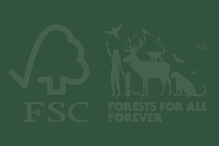 FSC's 'tick tree' logo is used to indicate that products are certified under the FSC system.